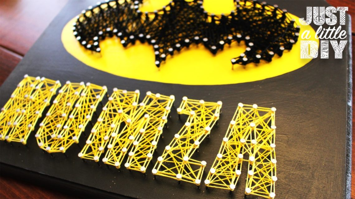 diy batman string art sign just a little diy. Black Bedroom Furniture Sets. Home Design Ideas