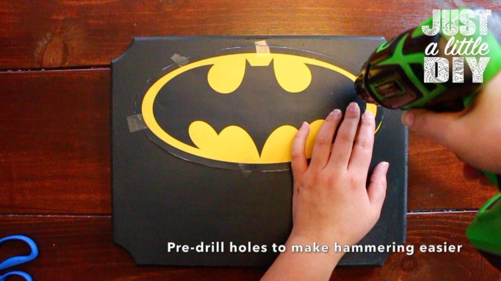 Batman Nursery Sign pre drill
