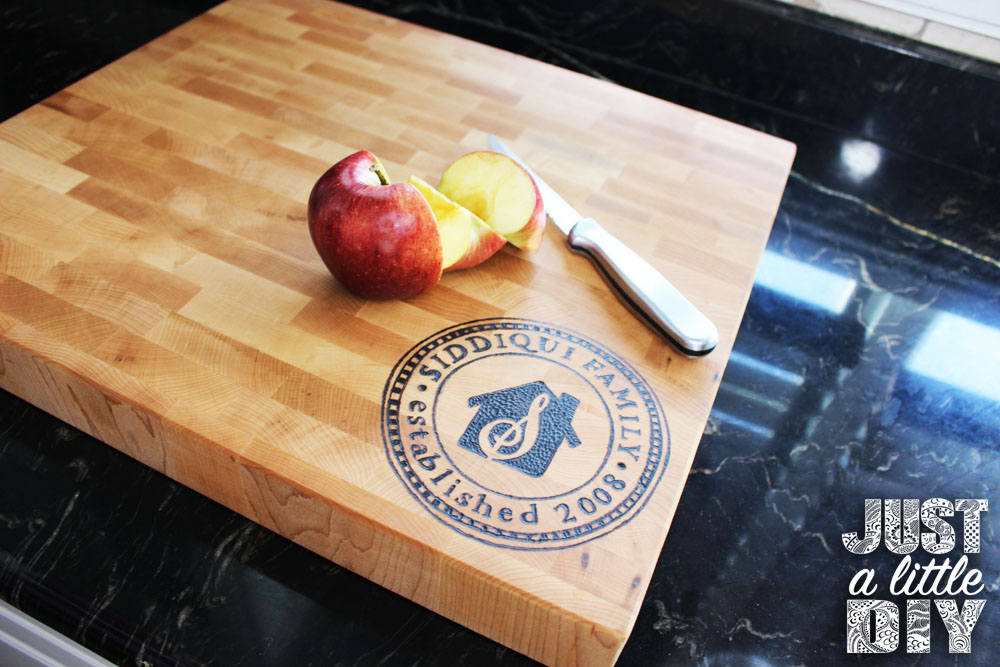 Diy personalized wood burned cutting board just a little diy for Diy personalized wood cutting board