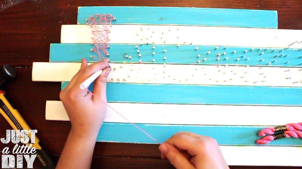 Nursery Sign string art nails